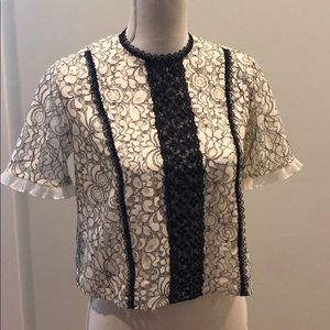 Nanette Lepore cream and black sheer lace top